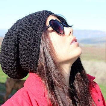 FREE SHIPPING - Crochet, Supa Slouch, Beanie, Hat - Unisex, Mens, Womens - Black