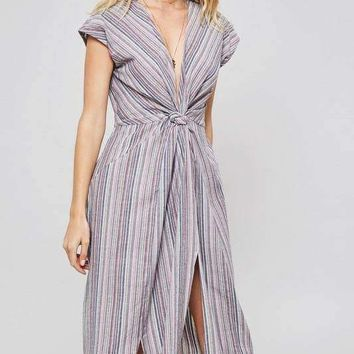 Striped Knotted Front Dress - Mauve/Grey