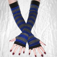 Cerulean - Arm Warmers blue and gray striped made out of soft sweater knit fabric Past the elbow in length - Hand Made