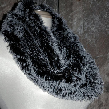 Faux Fur Snood Infinity Scarf in Glossy Black with Grey Tips