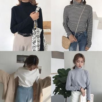 Women Long Sleeve T shirt Harajuku Cartoon Tops Tee Female Fashion Ulzzang Striped Turtleneck T-shirt Preppy Style Tshirt HT625