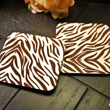 Custom Engraved Zebra Print Coasters ~ Set of 4