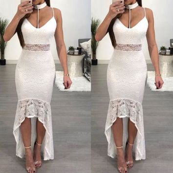 New Women Solid Lace Formal Long Party Prom Cocktail Ball Gown Sleeveless V Neck Wedding Bridesmaid Dress