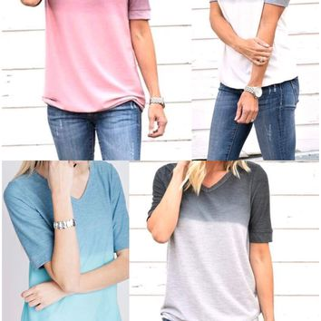 Ombre Dipped V-Neck Top