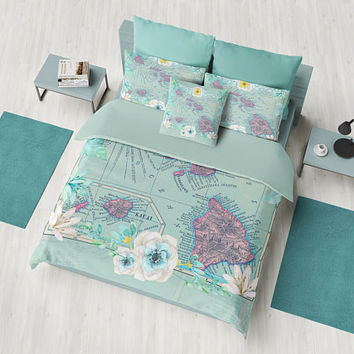Floral Hawaii Map Duvet Cover - or comforter -  bed - bedroom, tropical travel decor, cozy soft, foliage, flowers, teal, aqua, decor