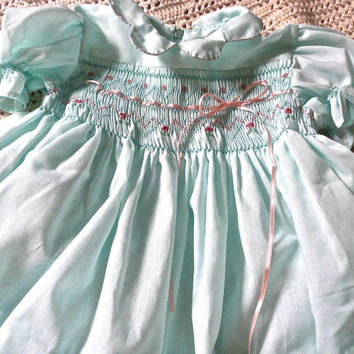 Baby Clothes - Childs Dress - Smocked Girls Jumper - Dainty Extensive Smocking - Cotton - Summer Dress - Short Sleeve Dress - Girls Dress