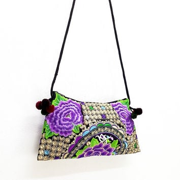 Thai Hill Tribe Bag Pom Pom Hmong Embroidered Ethnic Purse Woven Bag Hippie Bag Clutch Sling Bag Crossbody Bag Flower Violet