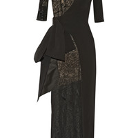 Alessandra Rich - Wrap-effect lace and stretch-silk cady gown