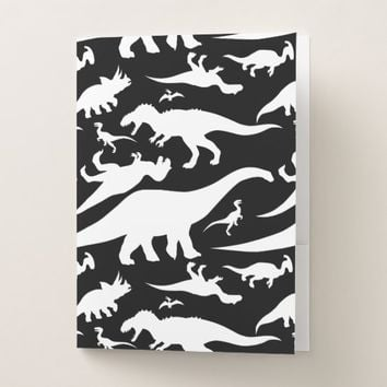 Black and White Dinosaur Pattern Pocket Folder