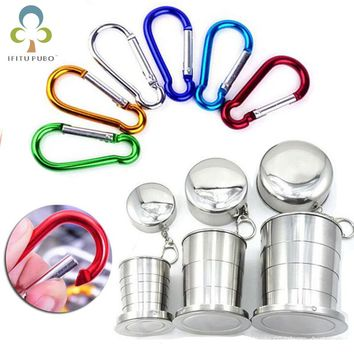 Stainless Steel Folding Cup Traveling Outdoor Camping Hiking Mug  Aluminum Spring Carabiner Snap Hook Hanger Keychain WYQ