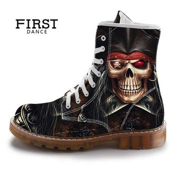 SHOES BOOTS mid-calf Boots Men Dr. Martins Style Black Skull Shoes Cotton