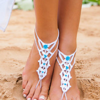 Blue Bead Floral Crochet Toe Ring Barefoot Sandals