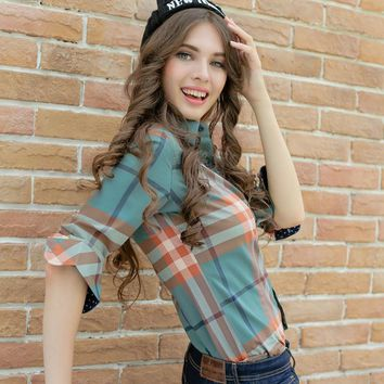 XS-3XL New Women's Cotton Shirt Spring 2017 Autumn Winter Fashion Classic Plaid Brushed Long-sleeve Loose Slim Tops Girl's Shirt