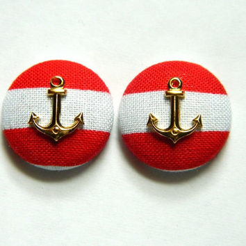 Button Earrings Red Stripes Vintage Gold Anchor Nautical