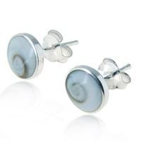 925 Sterling Silver Tiny White Shiva Eye Shell Circle Post Stud Earrings