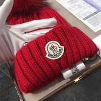 DCCKB62 Moncler Fashion Casual Women Beanies Knit Winter Hat Cap Red G