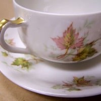 Haviland Limoges Autumn Leaf Pattern China Tea Cup and Saucer Set Made in France
