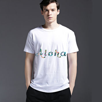Summer Cotton Pattern Round-neck Slim Alphabet Short Sleeve Men's Fashion Tee Casual T-shirts = 6451609667