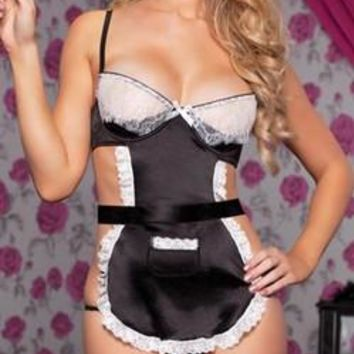 Sexy Stretch Satin Maid Bedroom Lingerie Costume