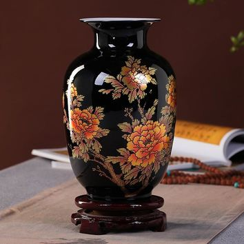 New Chinese Style Vase Jingdezhen Black Porcelain Crystal Glaze Flower Vase Home Decor Handmade Shining Famille Rose Vases