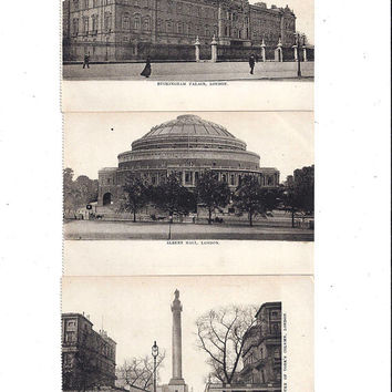 Early 1900's Set of 3 Antique Postcards of London England Scenes, Buckingham Palace, Duke of York Column, Albert Hall, UNPOSTED, Ephemera