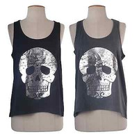 Women Round Neck Skull Foil Print Cami Sleeveless Tank Top Shirt Blouse