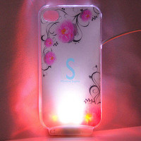 Stylish Flower LED Color Changed Sense Flash Light Case Cover for iPhone 4 4G 4S