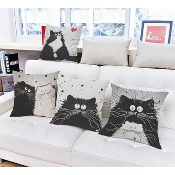 """Monday Cat"" Decorative Pillow Case"