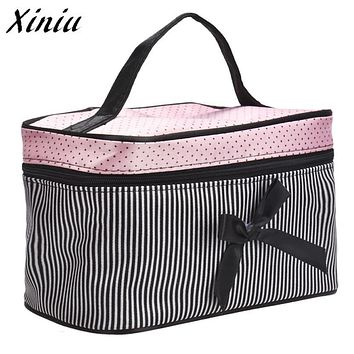 Xiniu New Cosmetic Bag Bowknot Stripe Makeup Square Storage Box Make Up Organiser Container Pouch/Bag drop shipping A0711