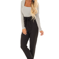 Raven Black High Rise Slacks with Ruffle Detail