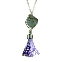 Silver Grey Druzy with Light Purple Tassel Necklace, 22 Inch Silver Chain