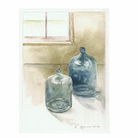 Glass Jugs By Window Original Watercolor 8x10 by baybeari on Etsy