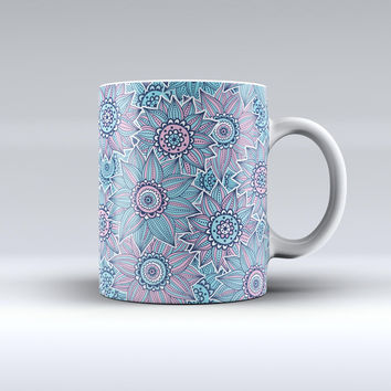 The Pink & Blue Flowered Pattern ink-Fuzed Ceramic Coffee Mug