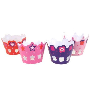 Birthday Girl Paper Cupcake Wrap with Toppers, 2-Inch, 36-Piece