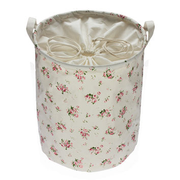 Zakka Red Flowers Cotton Multi-function Handle Stackable storage barrel Laundry basket Toy Storage box