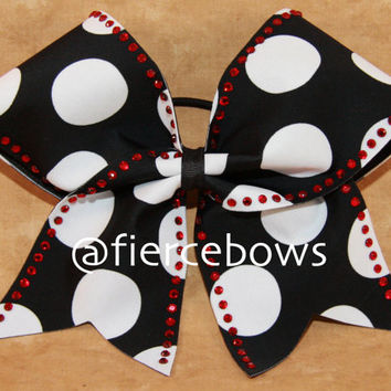 Polka Dot and Rhinestone Cheer Bow