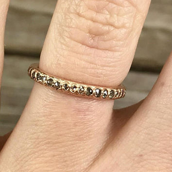 Unique ring for her / Skinny diamond wedding band / Thin diamond ring band / Alternative wedding band / April birthstone / Gift for wife