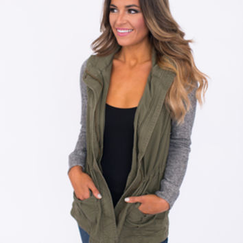 Olive Knit Sleeve Jacket