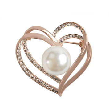 Alloy Heart Shaped Pearl Rhinestone Brooch