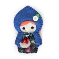 Handmade Felt Doll Brooch, Fairy Tale Brooch, Fabric Brooch: Little Blue Riding Hood.