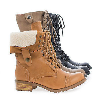 Oral Natural Pu By Soda, Round Toe Foldable Shaft Faux Shearling Military Combat Boots