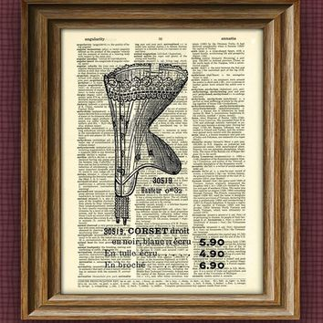 Vintage CORSET ADVERTISEMENT print over an upcycled vintage dictionary page book art