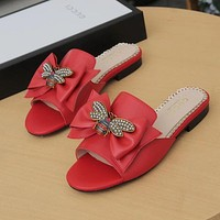 GUCCI Bee Women Fashion Leather Slipper Shoes