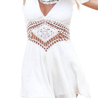White Ruffle Trim Sleeve Romper