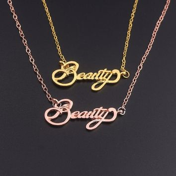 Fashion movie Jewelry Lovers' Necklace Movie Beauty and the Beast beauty Letter Long Chain Necklaces