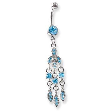 Surgical Stainless Steel Curved Belly Button Ring - Fancy Dangle Blue Crystal