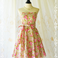My Lady III Spring Summer Sundress Adorable Pink Floral Pale Olive Green Dress Strapless Party Dress Pink Floral Bridesmaid Dresses XS-XL