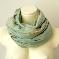 Cotton Mint Green Infinity Scarf Natural Beige Striped, Loop Circle Eternity Scarf, Spring Fashion Color,  Pareo