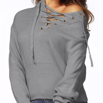 C| Chicloth Lace-Up Knit Sweater V Neck Long Sleeves Ribbed Cuffs Hem Women's Pullover