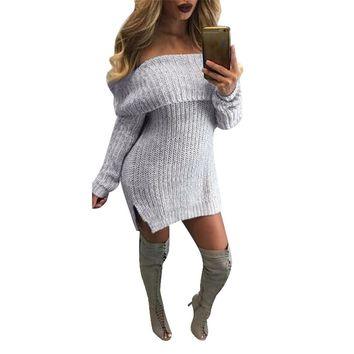 Warm Long Sleeve Knitted Pullover, Off Shoulder Slit Hem, Loose Long Sweater Dress Plus Size